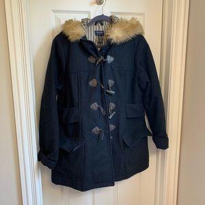 American Eagle navy pea coat fur-lined hood
